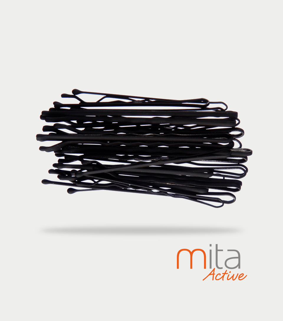 Mita Active Non Slip Bobby Pins Black (Pack of 30)