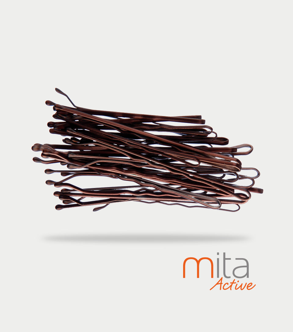 Mita Active Non Slip Bobby Pins Brown (Pack of 30)
