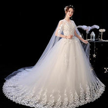Load image into Gallery viewer, O Neck Long Train Wedding Dress