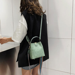 Stone Pattern PU Leather Bag