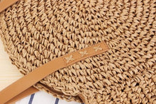 Load image into Gallery viewer, Round Straw Beach Bag