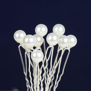 Single White Pearl Hairpins