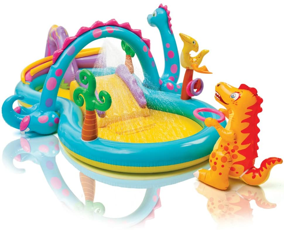 Dinoland Inflatable Play Center, 131in X 90in X 44in, for Ages 3+