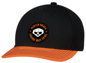 Turtle Beach Clothing hardcore beach patrol hat in black and orange