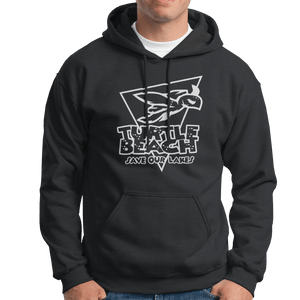 Turtle Beach Clothing charcoal  save our lakes hoodie. Made in Canada 80% organic cotton