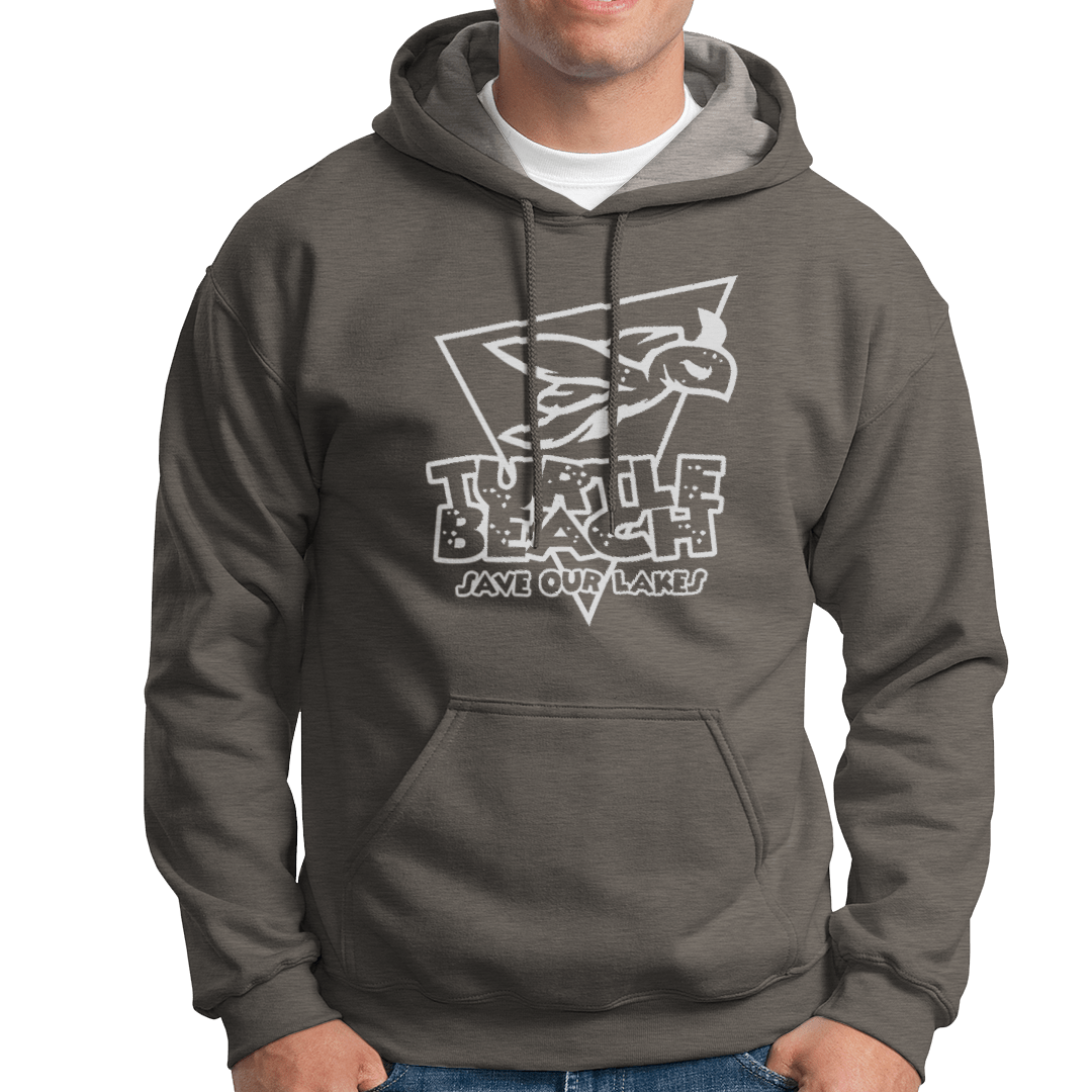 Turtle Beach Clothing black save our lakes hoodie. Made in Canada 80% organic cotton