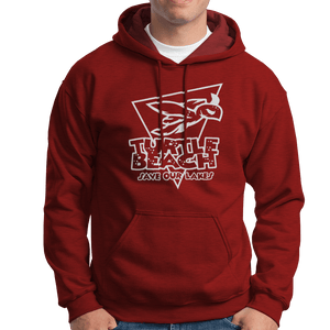 Turtle Beach Clothing harvest red save our lakes hoodie. Made in Canada 80% organic cotton
