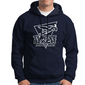 Turtle Beach Clothing midnight navy save our lakes hoodie. Made in Canada 80% organic cotton