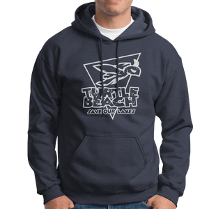 Turtle Beach Clothing navy save our lakes hoodie. Made in Canada 80% organic cotton