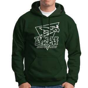 Turtle Beach Clothing park green save our lakes hoodie. Made in Canada 80% organic cotton