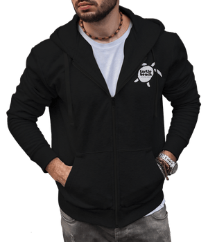 Turtle Beach Clothing zip up hoodie black Canadian made, 80% organic cotton