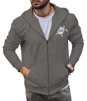 Turtle Beach Clothing zip up hoodie charcoal Canadian made, 80% organic cotton