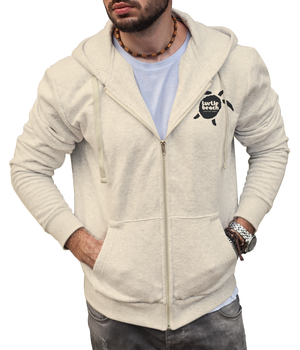 Turtle Beach Clothing zip up hoodie eco Canadian made, 80% organic cotton