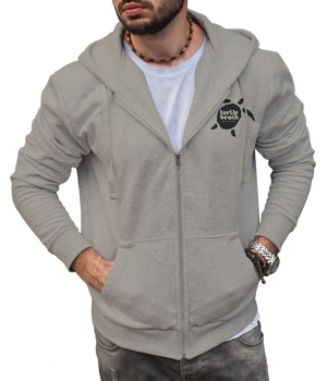 Turtle Beach Clothing zip up hoodie grey mix Canadian made, 80% organic cotton