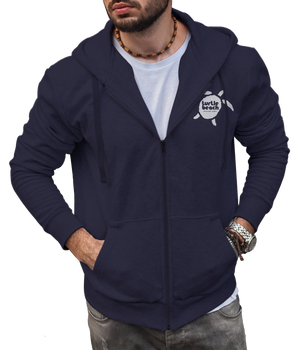 Turtle Beach Clothing zip up hoodie midnight navy Canadian made, 80% organic cotton