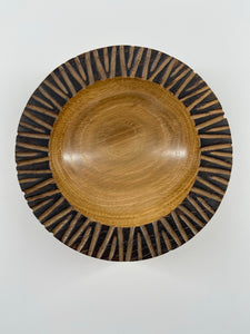 Textured and Scorched Rim Oak Bowl
