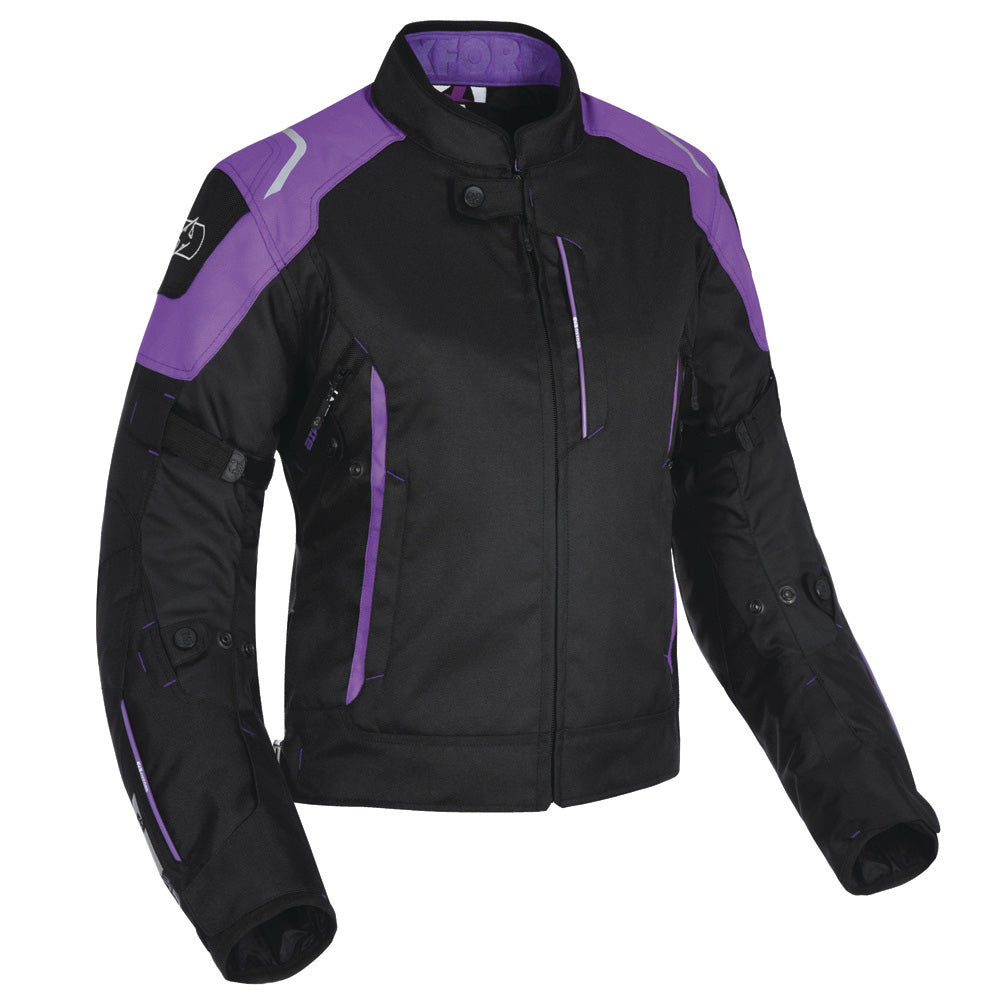 Oxford - Girona Women's Textile Jacket - Stealth Black / Tech Pink / Purple