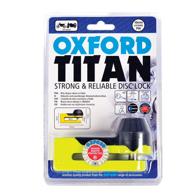 Oxford - Titan Disc-Lock & Pouch - Chrome / Yellow
