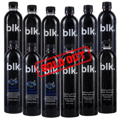 SIX PACK - blk. Black & Blueberry Zero Calories - 6pk / 16.9 fl oz / 500ml Bottles + SIX PACK - blk. Alkaline pH 8.0+ Water Zero Calories - 6pk / 16.9 fl oz / 500ml Bottles