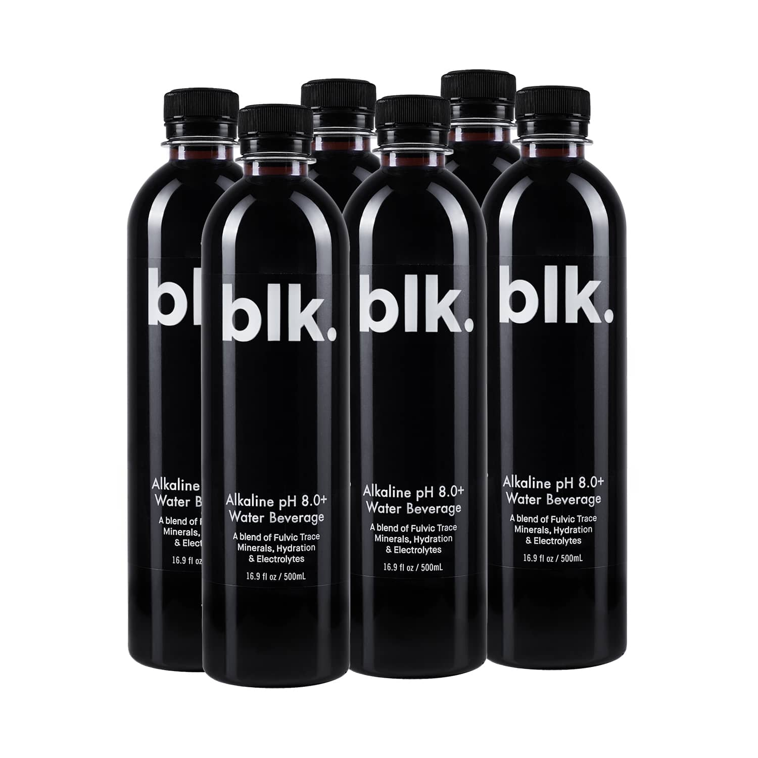 SIX PACK - blk. Alkaline pH 8.0+ Water Zero Calories - 6pk / 16.9 fl oz / 500ml Bottles