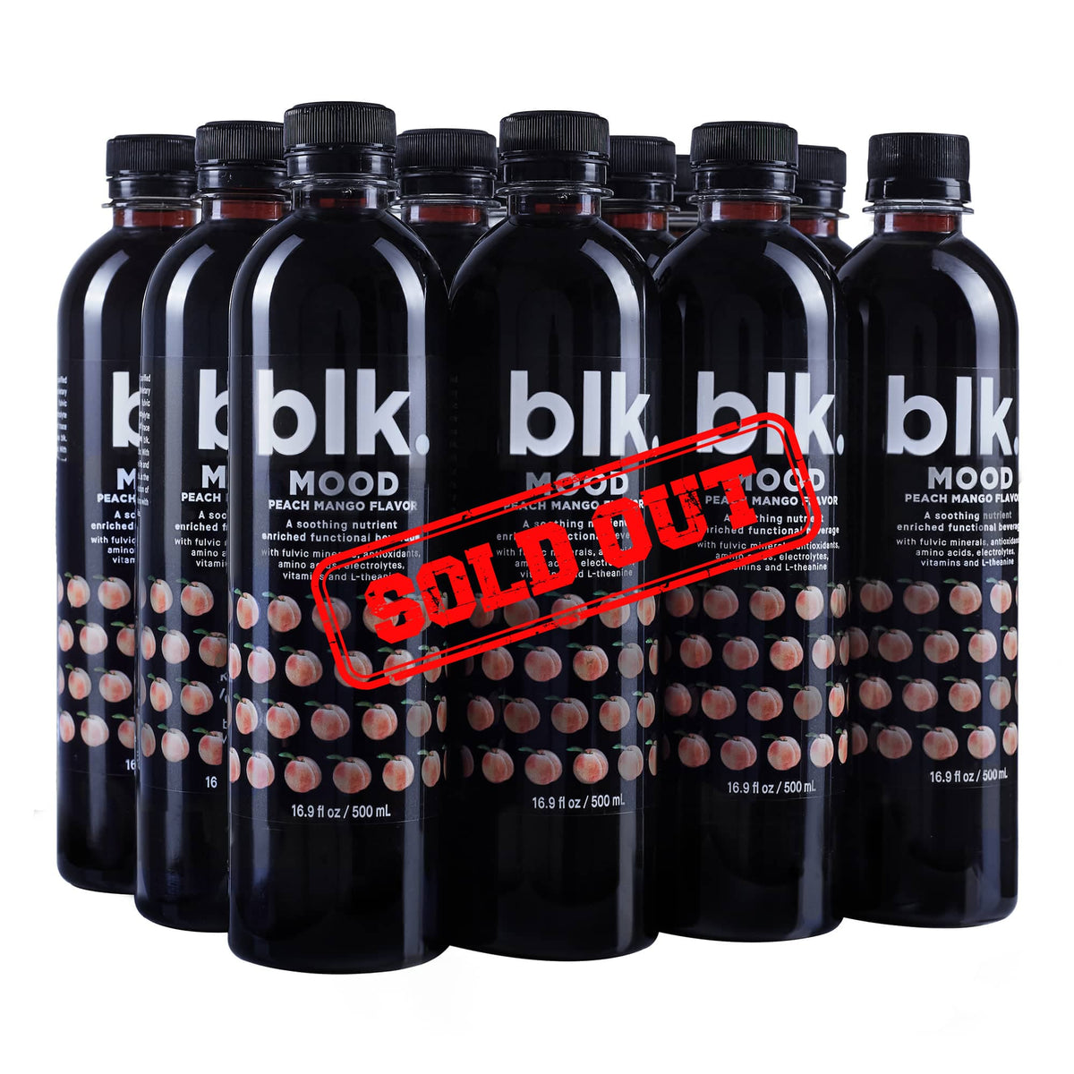 blk. MOOD Peach Mango Fulvic Enriched Water- 12pack