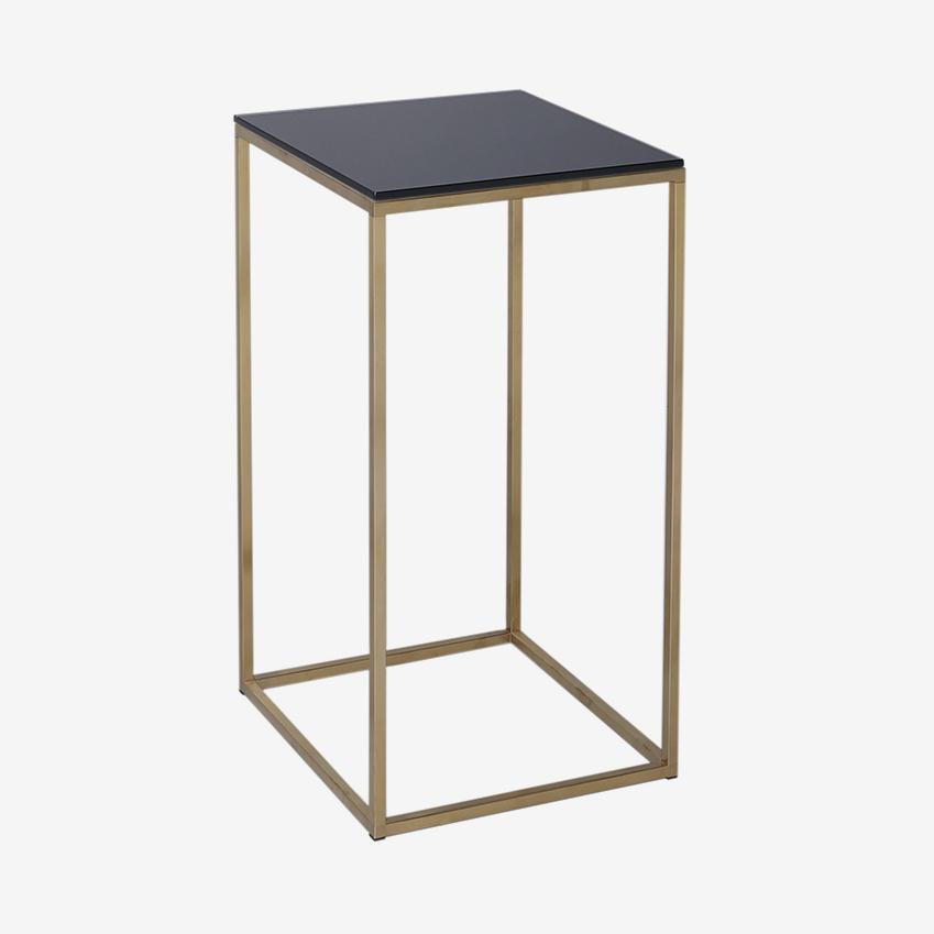Kensal Square Lamp Stand Side Table - Black Glass Top & Brass Base