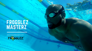Olympian Elvis Burrows wears Frogglez Masterz swim goggles in the pool