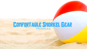 snorkel on sandy beach with ball