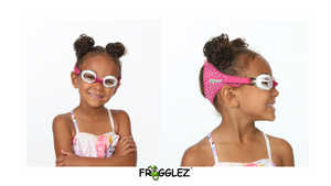 Frogglez swim goggles glitz sparkle shiny pink on a smiling girl