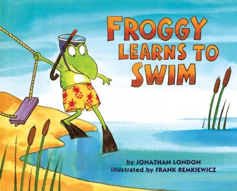 Froggy wears goggles and fins and overcomes a fear of water when he learns to swim