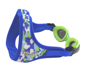 Frogglez comfortable strap with Green silicone swim goggles with blue accent and gray tinted lenses. 100% UV protection, polycarbonate lens, for children ages 3-10.