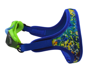 Frogglez comfortable strap in blue wave pattern with Green silicone swim goggles with blue accent and gray tinted lenses. 100% UV protection, polycarbonate lens, for children ages 3-10.