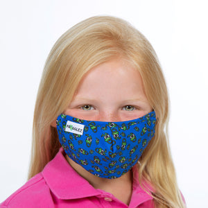 young girl wearing pink shirt and blue cloth face mask with frog print