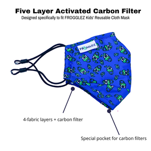 Frogglez blue cloth face mask with carbon filter
