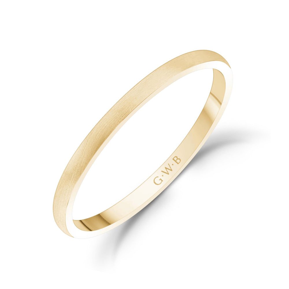 1.5mm 10K Gold Brushed Dome Thin Wedding Band