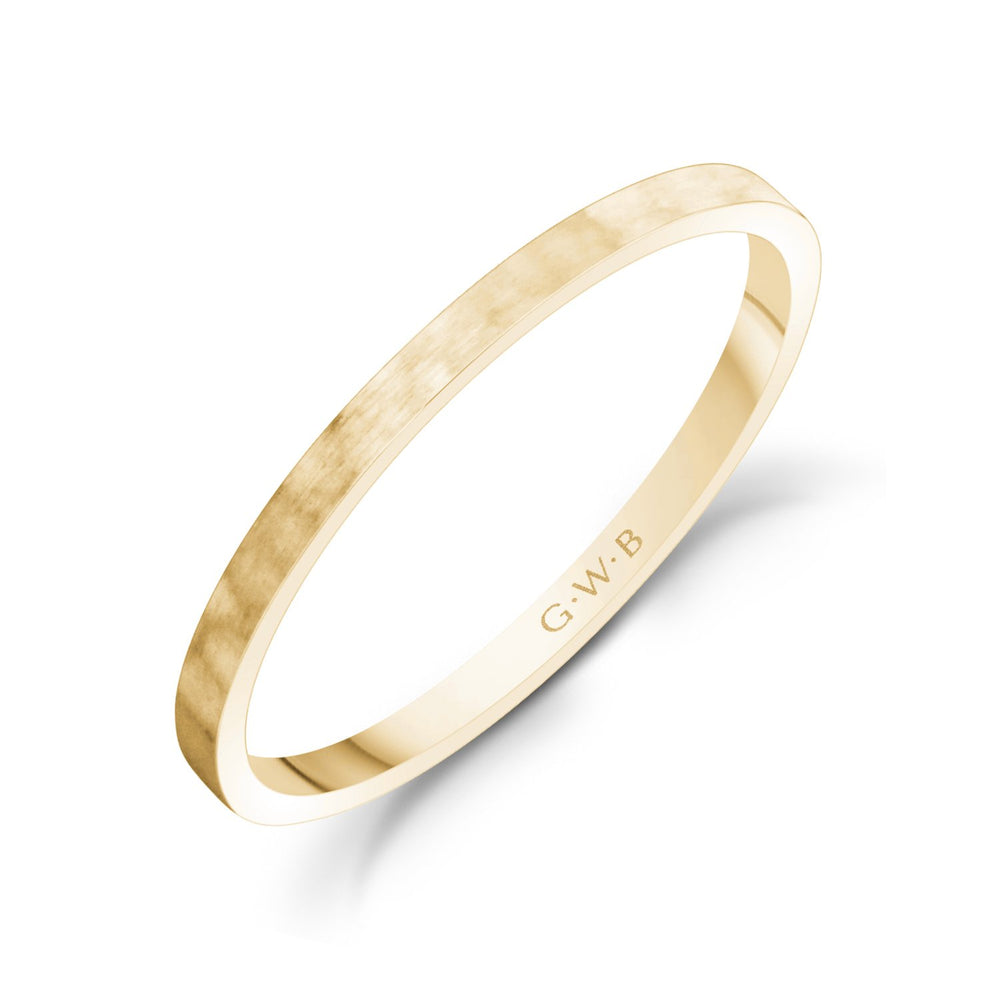 1.5mm 10K Gold Brushed Thin Flat Hammered Wedding Band