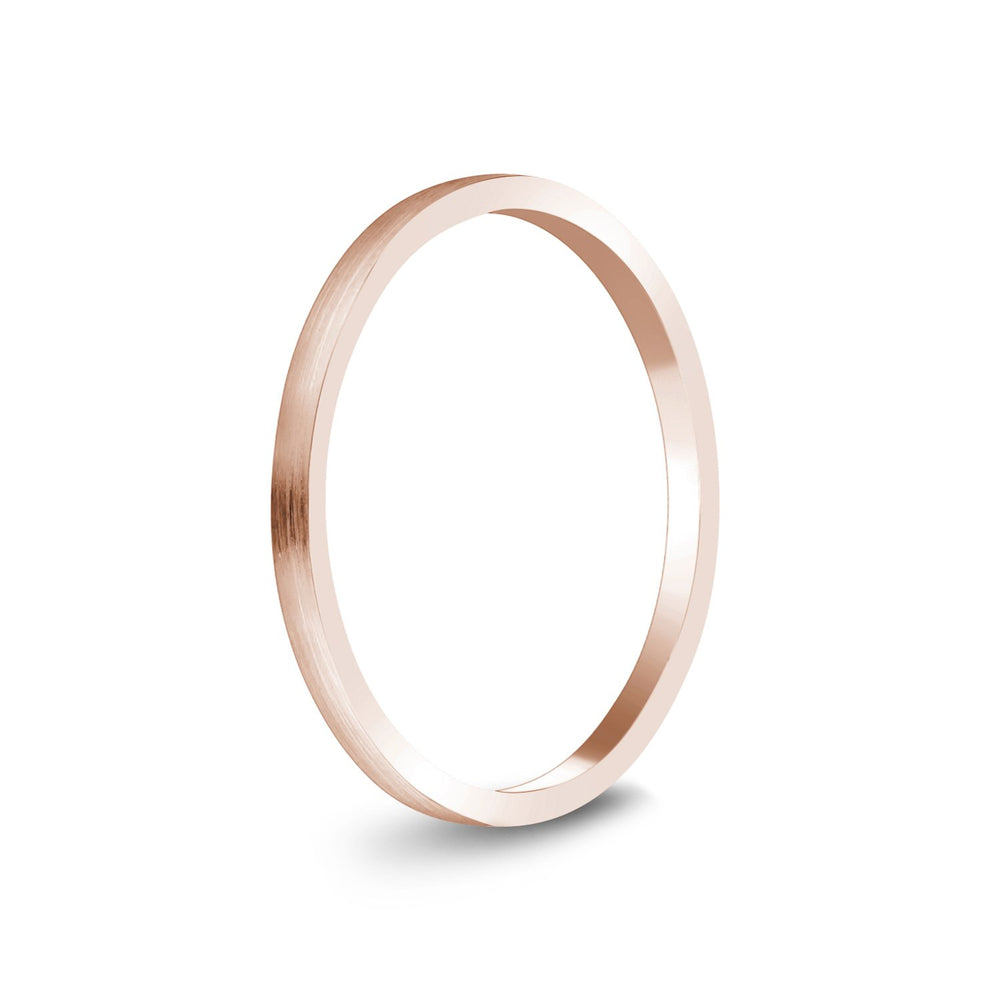 1.5mm 10K Gold Brushed Thin Flat Wedding Band