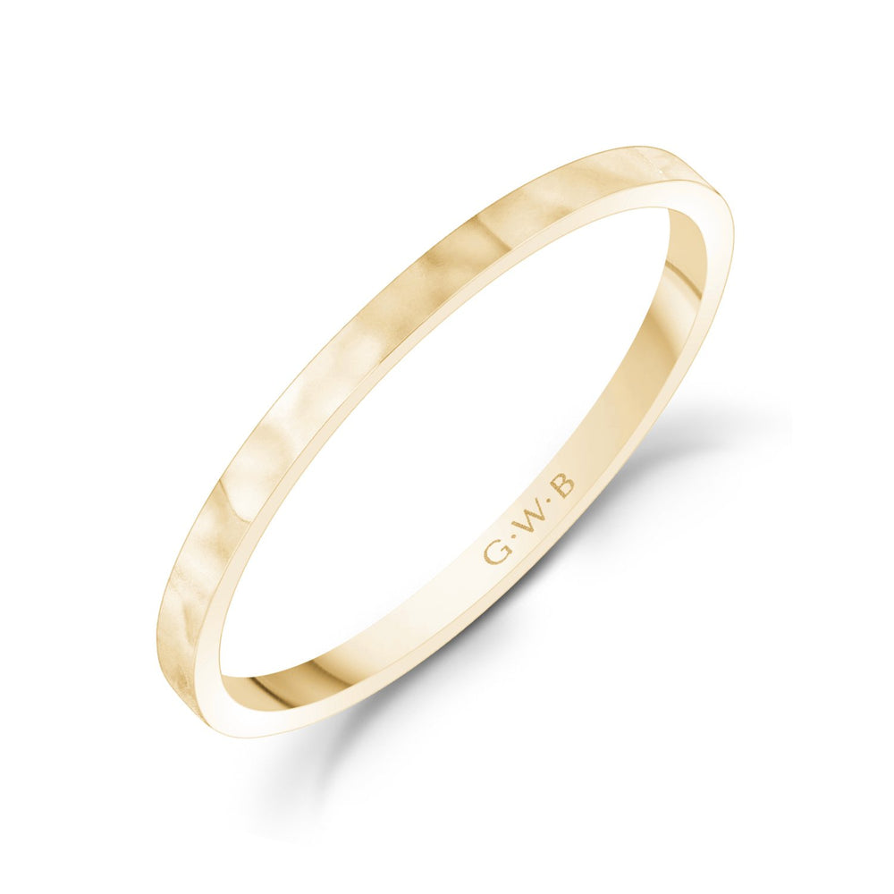 1.5mm 10K Gold High Polished Thin Flat Hammered Wedding Band