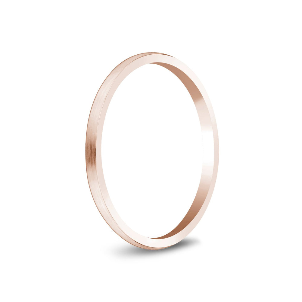1.5mm 14K Gold Brushed Dome Thin Wedding Band