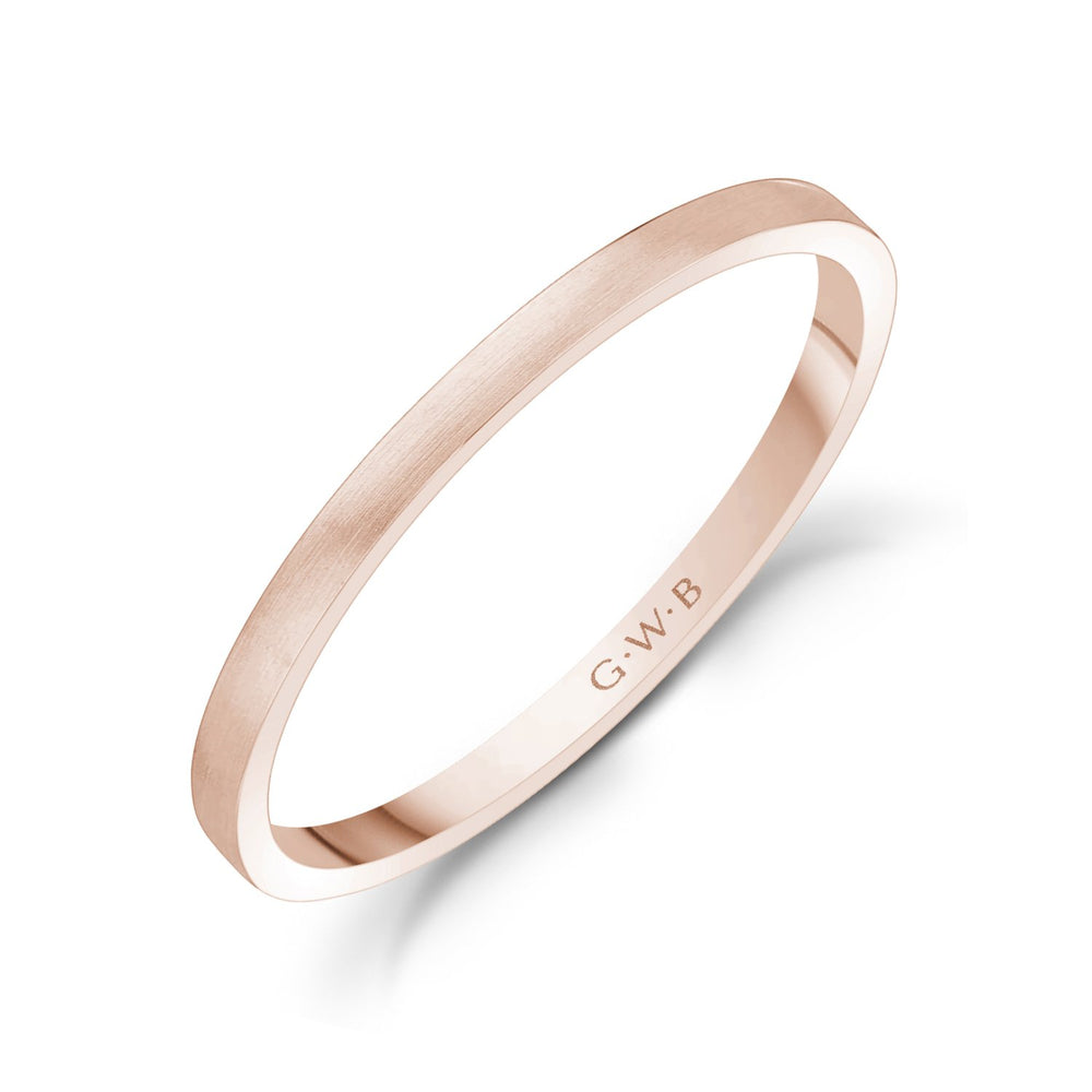 1.5mm 14K Gold Brushed Thin Flat Wedding Band