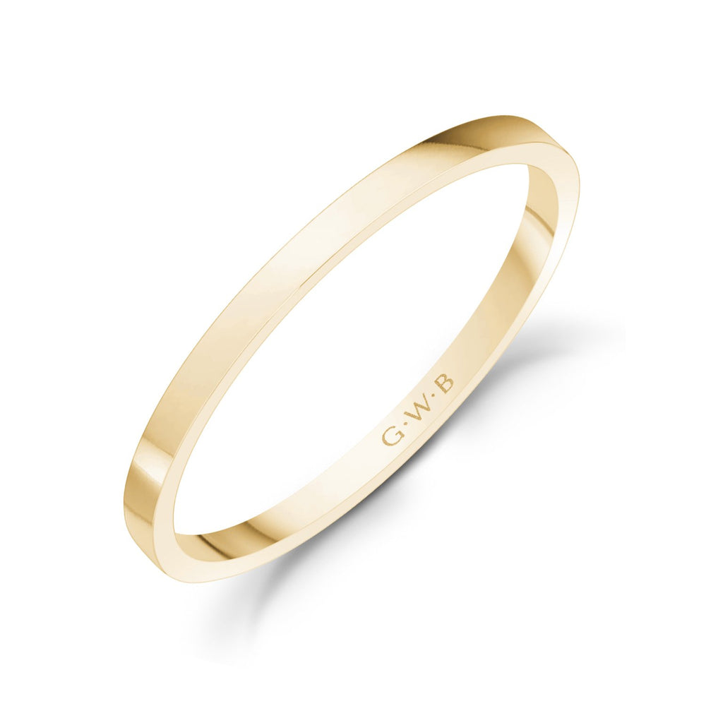 1.5mm 14K Gold High Polished Thin Flat Wedding Band