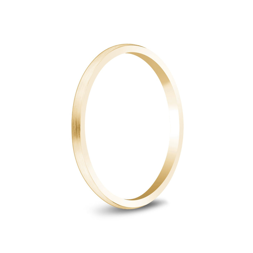 1.5mm 18K Gold Brushed Dome Thin Wedding Band