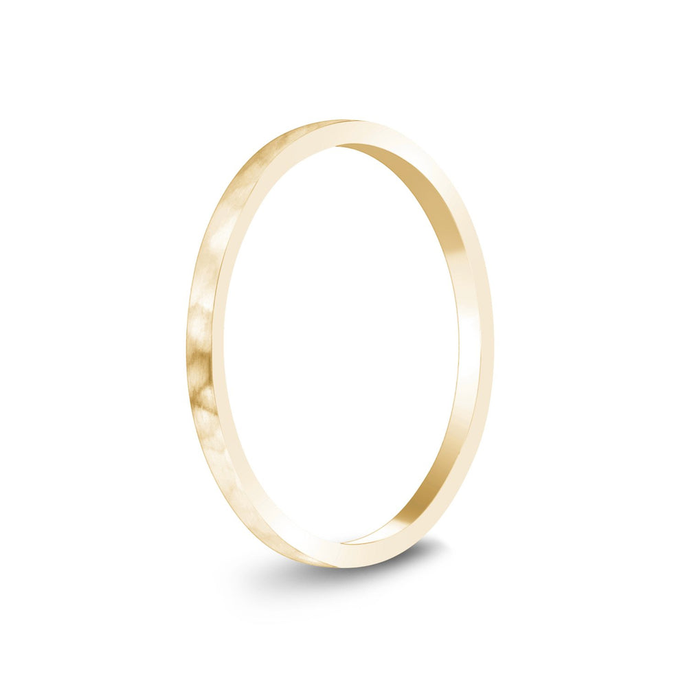 1.5mm 18K Gold Brushed Thin Flat Hammered Wedding Band