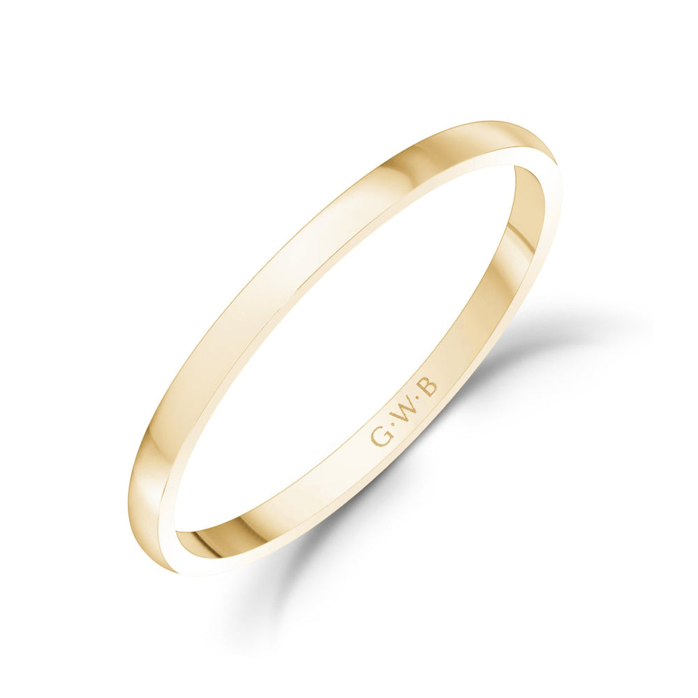 1.5mm 18K Gold High Polished Dome Thin Wedding Band