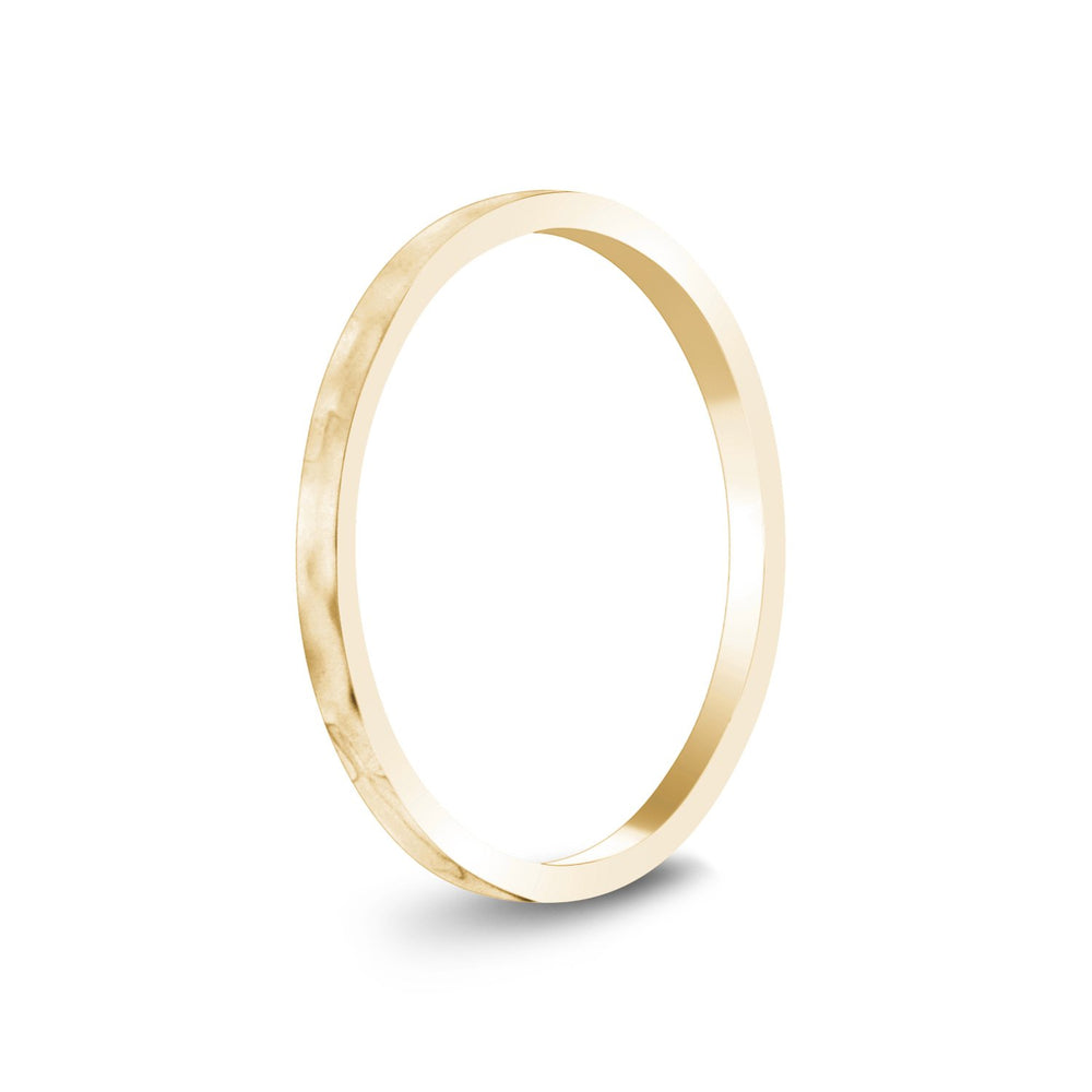 1.5mm 18K Gold High Polished Thin Flat Hammered Wedding Band
