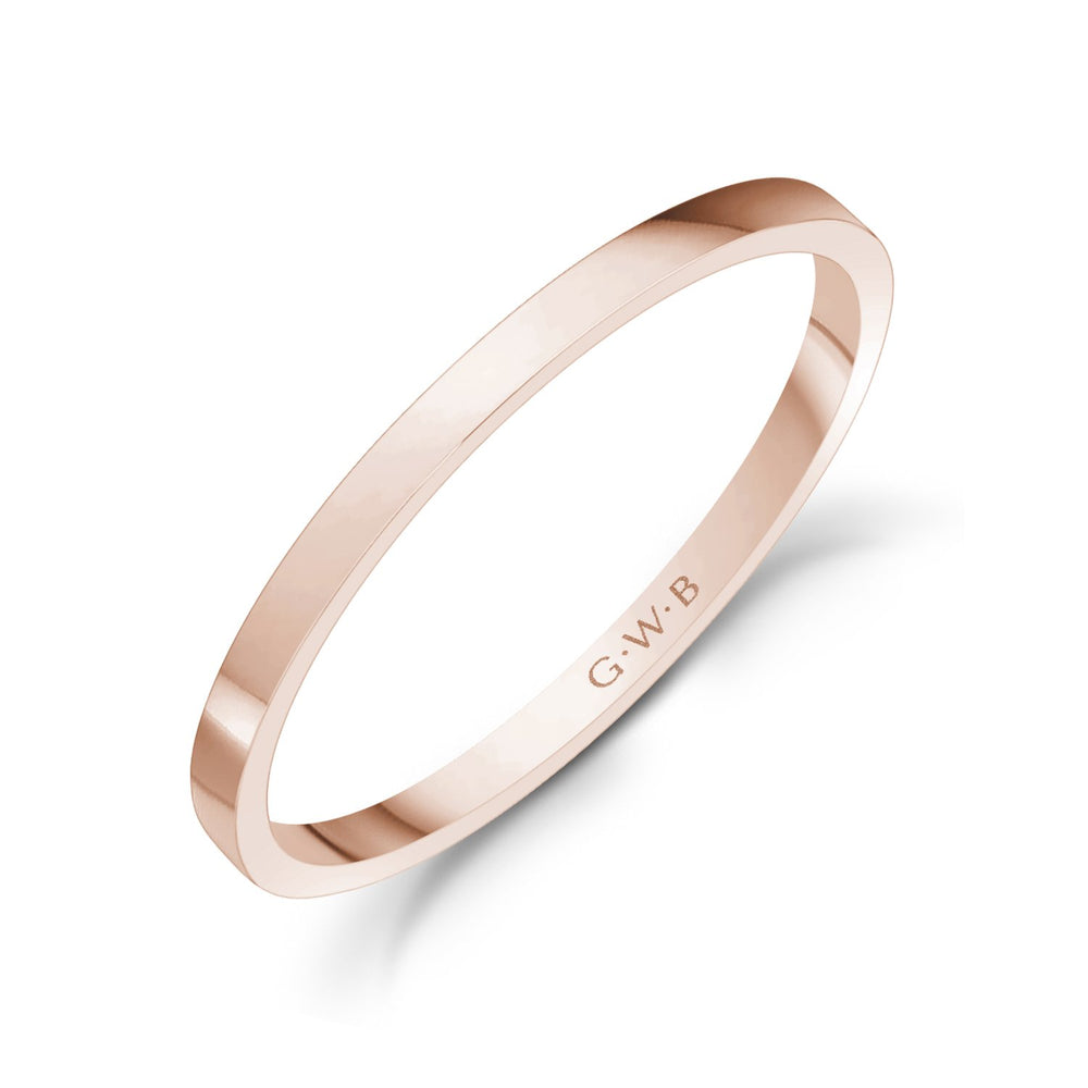 1.5mm 18K Gold High Polished Thin Flat Wedding Band