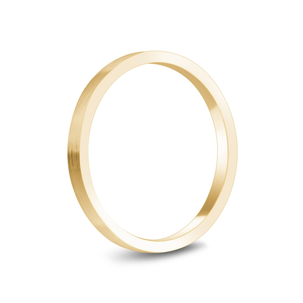 2mm 10K Gold Brushed Flat Wedding Band
