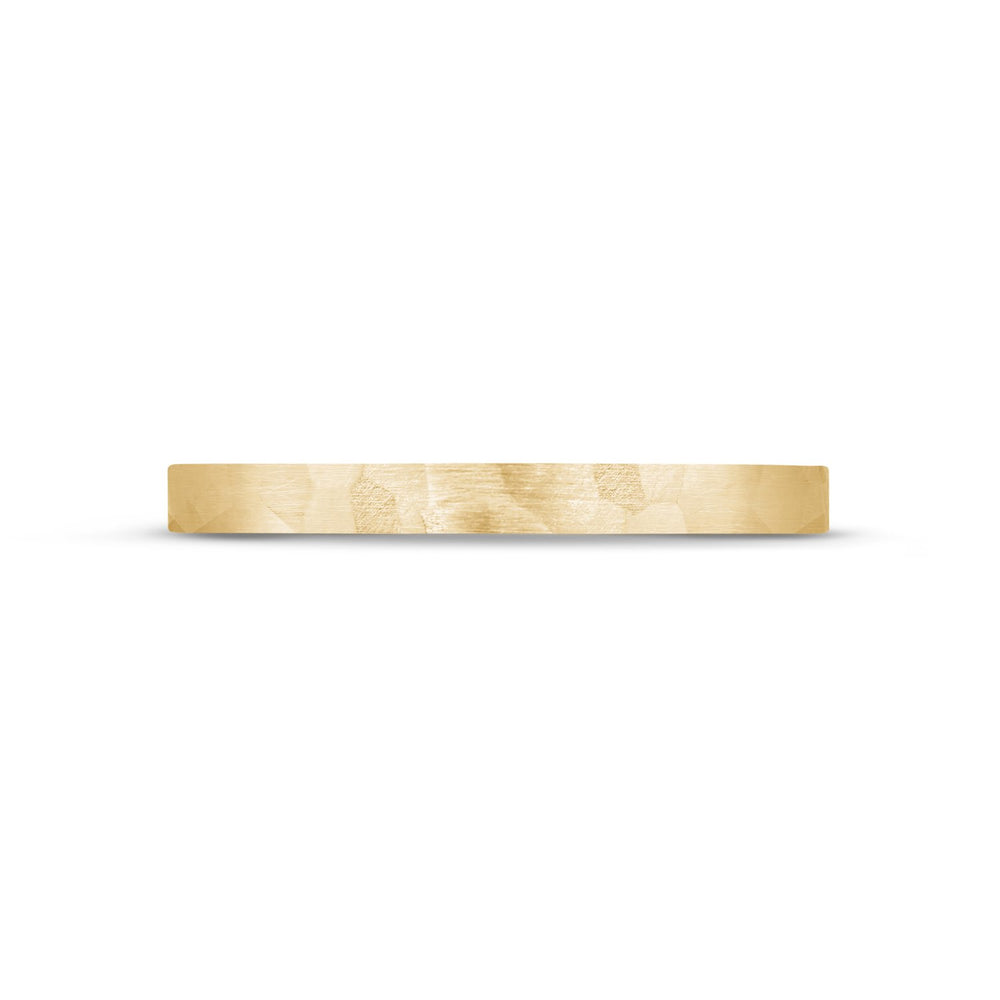 2mm 10K Gold Brushed Hammered Wedding Band