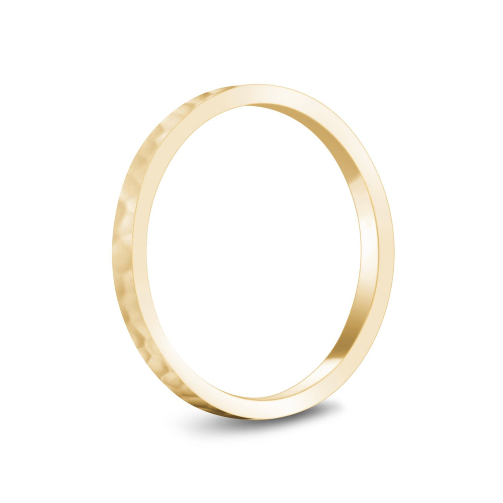 2mm 10K Gold High Polished Hammered Wedding Band