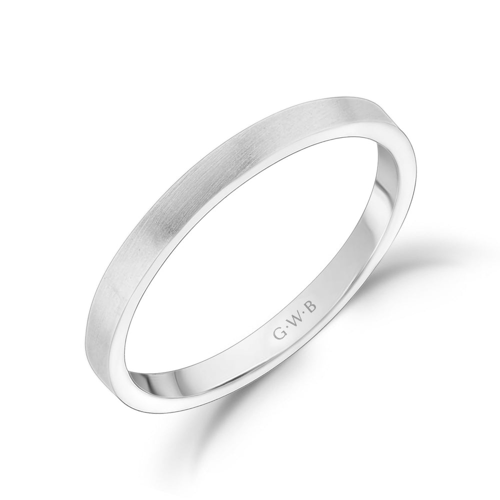 Load image into Gallery viewer, 2mm 14K Gold Brushed Flat Wedding Band